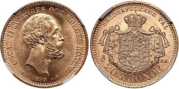 20 Krone Schweden Gold Oskar II. (Schweden) (1829-1907)