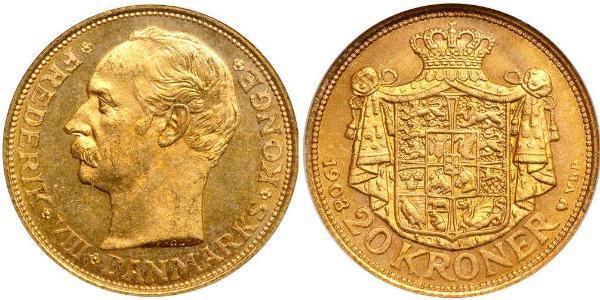 20 Krone Danemark Or Frédéric VIII de Danemark (1843 - 1912)