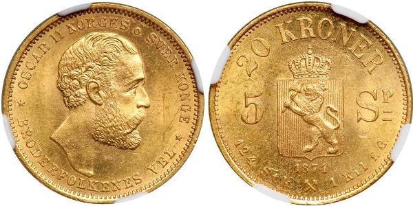 20 Krone Norvège Or Oscar II de Suède (1829-1907)