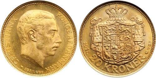 20 Krone Dinamarca Oro Cristián X de Dinamarca (1870 - 1947)