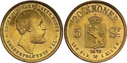 20 Krone Norvegia Oro Oscar II di Svezia (1829-1907)