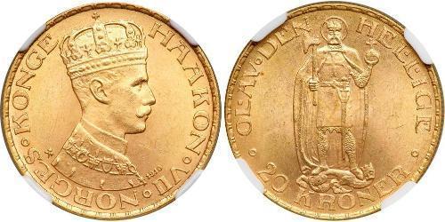 20 Krone Norvegia (1905 - ) Oro Haakon VII di Norvegia (1872 - 1957)
