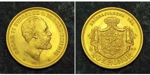 20 Krone Suecia Oro Óscar II de Suecia (1829-1907)