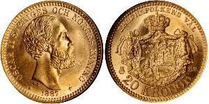 20 Krone Svezia Oro Oscar II di Svezia (1829-1907)