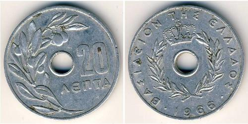20 Lepta Kingdom of Greece (1944-1973) Aluminium Constantine II of Greece (1940 - )