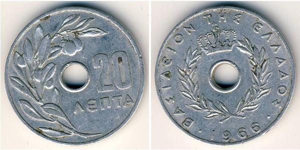 20 Lepta Kingdom of Greece (1944-1973) Aluminium Constantine II of Greece (1940 - )