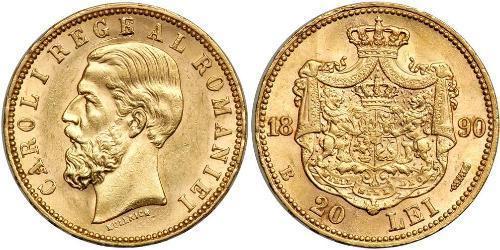20 Leu Regno di Romania (1881-1947) Oro Carlo I di Romania (1839 - 1914)