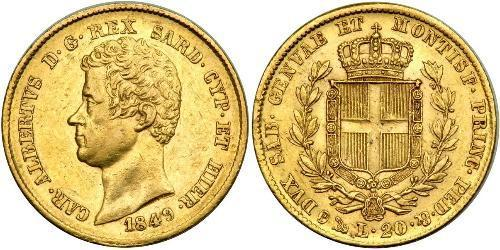 20 Lira 薩丁尼亞王國 (1324 - 1861) / 意大利 金 卡洛·阿尔贝托 (1798 - 1849)