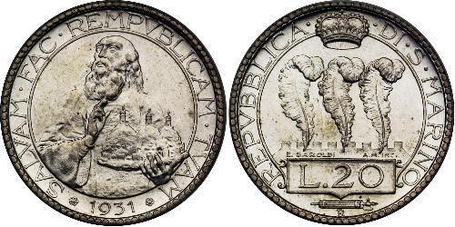 20 Lira San Marino 銀