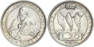 20 Lira Saint-Marin Argent