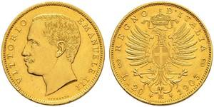 20 Lira Kingdom of Italy (1861-1946) Gold Vittorio Emanuele III (1869 - 1947)