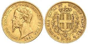 20 Lira Kingdom of Italy (1861-1946) Gold Victor Emmanuel II of Italy (1820 - 1878)