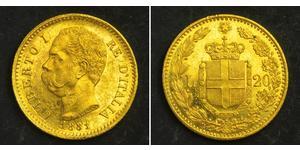 20 Lira Kingdom of Italy (1861-1946) Gold Umberto I (1844-1900)