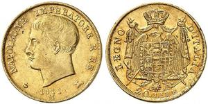 20 Lira Kingdom of Italy (Napoleonic) (1805–1814) Gold Napoleon (1769 - 1821)