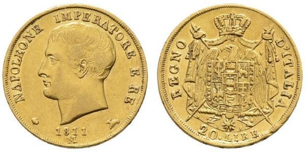20 Lira Kingdom of Italy (Napoleonic) (1805–1814) Gold Napoleon (1769 - 1821)