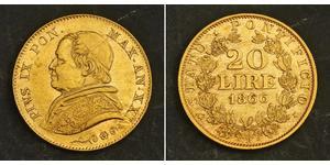20 Lira Kirchenstaat (752-1870) Gold Pius IX (1792- 1878)
