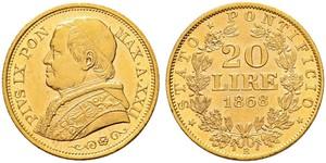 20 Lira Papal States (752-1870) Gold Pope Pius IX (1792- 1878)