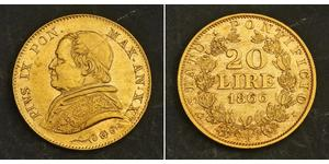 20 Lira États pontificaux (752-1870) Or Pie IX (1792- 1878)