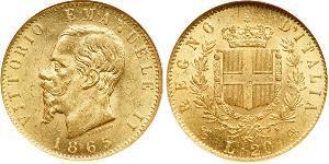 20 Lira Kingdom of Italy (1861-1946) Or Victor Emmanuel II of Italy (1820 - 1878)