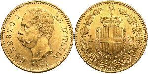 20 Lira Kingdom of Italy (1861-1946) Or Umberto I (1844-1900)