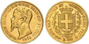 20 Lira Kingdom of Italy (1861-1946) Or Victor Emmanuel II of Italy (1820 - 1878)