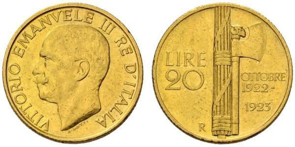 20 Lira Kingdom of Italy (1861-1946) Or Vittorio Emanuele III (1869 - 1947)