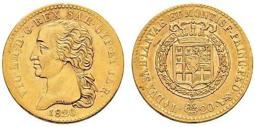 20 Lira Royaume de Sardaigne (1324 - 1861) Or Victor-Emmanuel Ier de Sardaigne