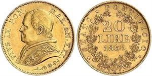 20 Lira Estados Pontificios (752-1870) Oro Pío IX (1792- 1878)