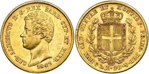 20 Lira Italia / Reino de Cerdeña (1324 - 1861) Oro Carlos Alberto de Cerdeña (1798 - 1849)