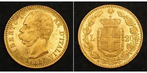 20 Lira Kingdom of Italy (1861-1946) Oro Umberto I (1844-1900)
