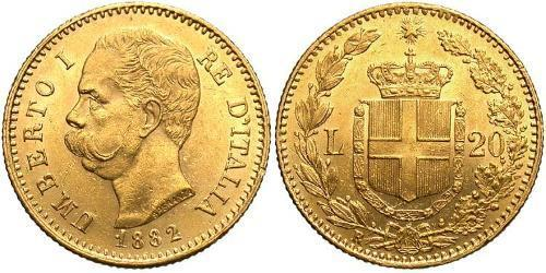20 Lira Kingdom of Italy (1861-1946) Oro Umberto I (1844-1900)