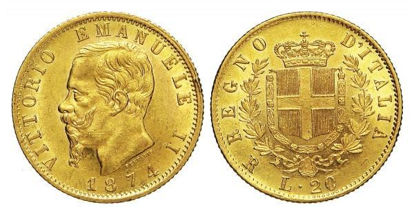 20 Lira Kingdom of Italy (1861-1946) Oro Victor Emmanuel II of Italy (1820 - 1878)