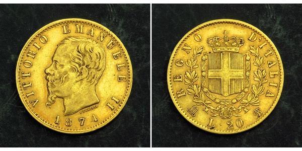 20 Lira Kingdom of Italy (1861-1946) Oro Victor Emmanuel II of Italy (1820 - 1878)