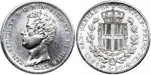 20 Lira Kingdom of Sardinia (1324 - 1861) Platinum Charles Albert of Sardinia (1798 - 1849)