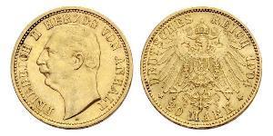 20 Mark 安哈尔特-德绍 金 弗里德里希二世 (安哈尔特) (1856 - 1918)