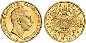 20 Mark 普魯士王國 (1701 - 1918) 金 威廉二世 (德国)