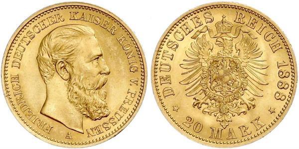 20 Mark 普魯士王國 (1701 - 1918) 金 腓特烈三世 (德国)