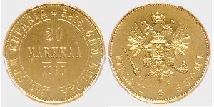 20 Mark 芬兰大公国 (1809 - 1917) / 俄罗斯帝国 (1721 - 1917) 金 亚历山大三世 (俄国) (1845 -1894)