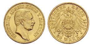 20 Mark 萨克森王国 (1806 - 1918) 金 弗里德里希·奥古斯特三世 (萨克森国王)