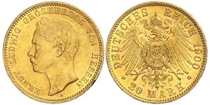 20 Mark 黑森-达姆施塔特 (1806 - 1918) 金 恩斯特·路德维希 (黑森大公) (1868 - 1937)