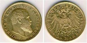 20 Mark Kingdom of Württemberg (1806-1918) 金 威廉二世 (德国)