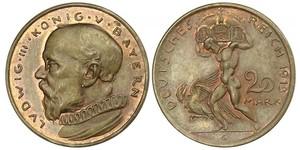 20 Mark 巴伐利亞王國 (1806 - 1918) 銅 路德维希三世 (巴伐利亚) (1845 – 1921)