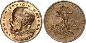 20 Mark Kingdom of Bavaria (1806 - 1918) Copper Ludwig III of Bavaria (1845 – 1921)