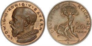 20 Mark Royaume de Bavière (1806 - 1918) Cuivre Louis III de Bavière (1845 – 1921)