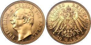 20 Mark Anhalt-Dessau (1603 -1863) Gold Friedrich II. (Anhalt)(1856 – 1918)