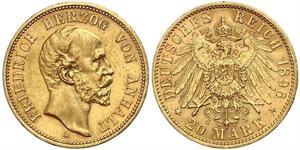 20 Mark Anhalt-Dessau (1603 -1863) Gold Frederick I, Duke of Anhalt (1831-1904)
