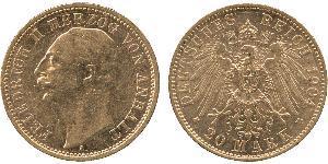 20 Mark Anhalt-Dessau (1603 -1863) Gold Friedrich II, Duke of Anhalt (1856 – 1918)