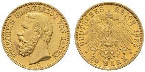 20 Mark Grand Duchy of Baden (1806-1918) Gold Frederick I, Grand Duke of Baden (1826 - 1907)