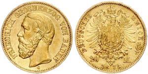 20 Mark Grand Duchy of Baden (1806-1918) Gold Frederick I, Grand Duke of Baden (1826 - 1907)