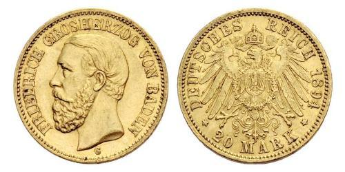 20 Mark Grand Duchy of Baden (1806-1918) Gold Friedrich I. (Baden, Großherzog) (1826 - 1907)